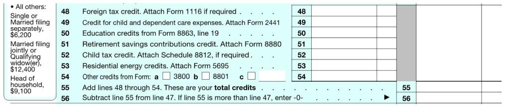 1040 Credits